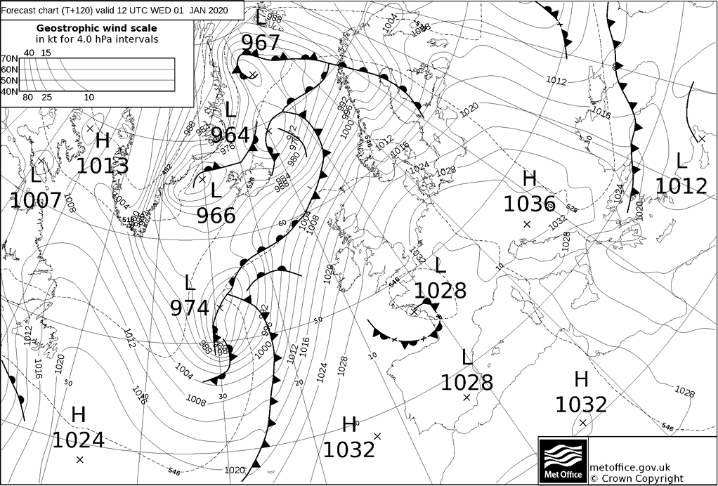 T+120 Hours Surface Forecast (North Atlantic)