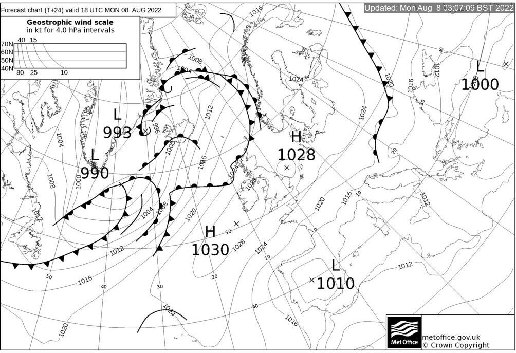 T+24 Hours Surface Forecast (North Atlantic)
