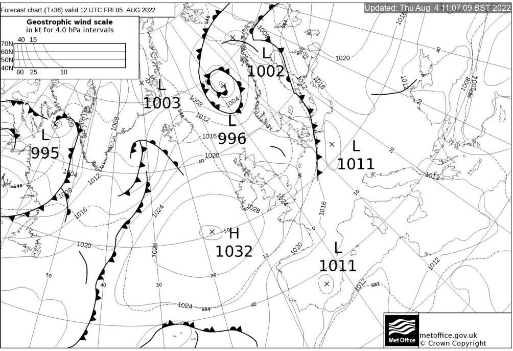 T+36 Hours Surface Forecast (North Atlantic)