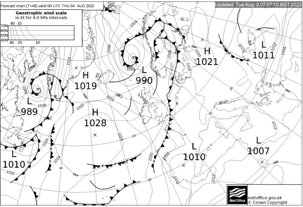 T+48 Hours Surface Forecast (North Atlantic)