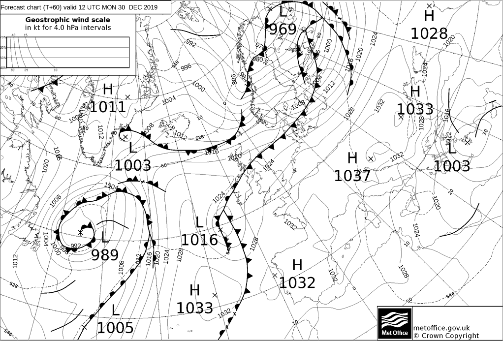 T+60 Hours Surface Forecast (North Atlantic)