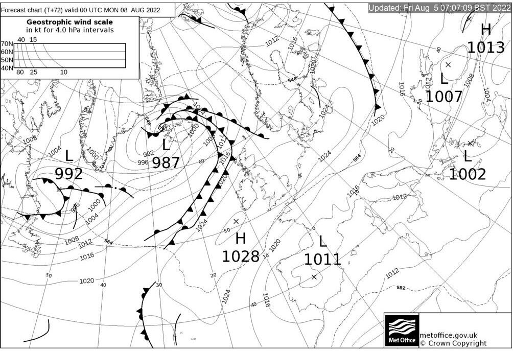 T+72 Hours Surface Forecast (North Atlantic)