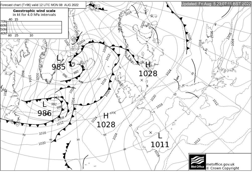 T+96 Hours Surface Forecast (North Atlantic)